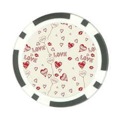 Pattern Hearts Kiss Love Lips Art Vector Poker Chip Card Guard (10 Pack)