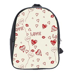 Pattern Hearts Kiss Love Lips Art Vector School Bags(large)