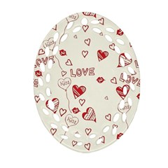 Pattern Hearts Kiss Love Lips Art Vector Ornament (oval Filigree)