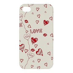 Pattern Hearts Kiss Love Lips Art Vector Apple Iphone 4/4s Premium Hardshell Case