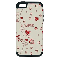 Pattern Hearts Kiss Love Lips Art Vector Apple Iphone 5 Hardshell Case (pc+silicone)