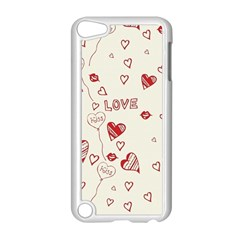 Pattern Hearts Kiss Love Lips Art Vector Apple Ipod Touch 5 Case (white)
