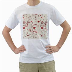 Pattern Hearts Kiss Love Lips Art Vector Men s T Shirt (white)