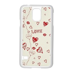 Pattern Hearts Kiss Love Lips Art Vector Samsung Galaxy S5 Case (white)