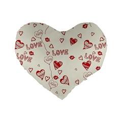 Pattern Hearts Kiss Love Lips Art Vector Standard 16  Premium Flano Heart Shape Cushions by BangZart
