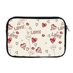 Pattern Hearts Kiss Love Lips Art Vector Apple Macbook Pro 17  Zipper Case