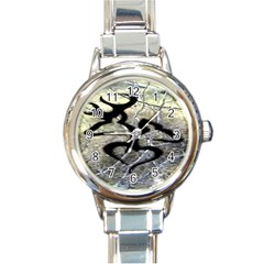 Black Love Browning Deer Camo Round Italian Charm Watch