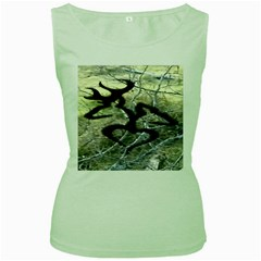 Black Love Browning Deer Camo Women s Green Tank Top