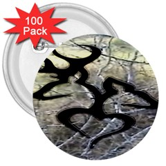Black Love Browning Deer Camo 3  Buttons (100 Pack)