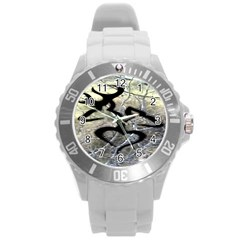 Black Love Browning Deer Camo Round Plastic Sport Watch (l)