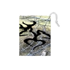 Black Love Browning Deer Camo Drawstring Pouches (small)  by BangZart
