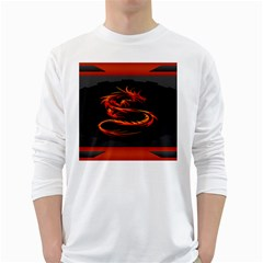 Dragon White Long Sleeve T Shirts by BangZart
