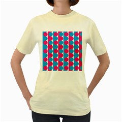 Pink And Bluedots Pattern Women s Yellow T Shirt