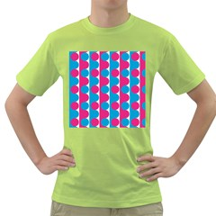 Pink And Bluedots Pattern Green T Shirt