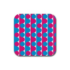 Pink And Bluedots Pattern Rubber Square Coaster (4 Pack)