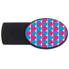 Pink And Bluedots Pattern Usb Flash Drive Oval (2 Gb)