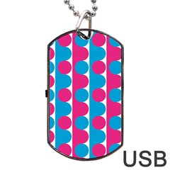 Pink And Bluedots Pattern Dog Tag Usb Flash (one Side) by BangZart