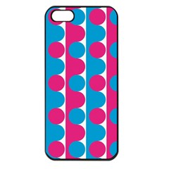 Pink And Bluedots Pattern Apple Iphone 5 Seamless Case (black)