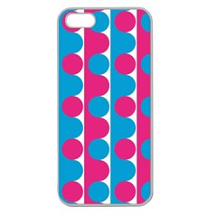 Pink And Bluedots Pattern Apple Seamless Iphone 5 Case (clear)