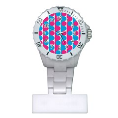 Pink And Bluedots Pattern Plastic Nurses Watch by BangZart