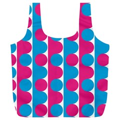 Pink And Bluedots Pattern Full Print Recycle Bags (l)