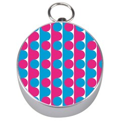 Pink And Bluedots Pattern Silver Compasses