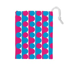Pink And Bluedots Pattern Drawstring Pouches (large)  by BangZart