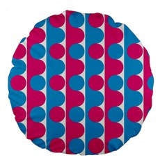 Pink And Bluedots Pattern Large 18  Premium Flano Round Cushions by BangZart