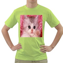Cat  Animal  Kitten  Pet Green T Shirt by BangZart