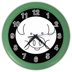 Pig Logo Color Wall Clocks by BangZart
