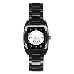 Pig Logo Stainless Steel Barrel Watch