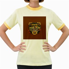 Tattoo Art Print Traditional Artwork Lighthouse Wave Women s Fitted Ringer T Shirts