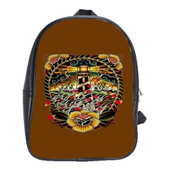 Tattoo Art Print Traditional Artwork Lighthouse Wave School Bags(large)
