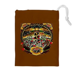 Tattoo Art Print Traditional Artwork Lighthouse Wave Drawstring Pouches (extra Large)