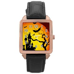 Halloween Night Terrors Rose Gold Leather Watch