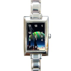 Planets In Space Stars Rectangle Italian Charm Watch by BangZart