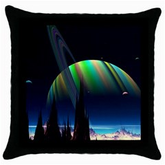 Planets In Space Stars Throw Pillow Case (black) by BangZart