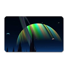 Planets In Space Stars Magnet (rectangular)