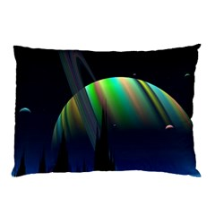 Planets In Space Stars Pillow Case (two Sides)
