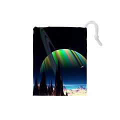 Planets In Space Stars Drawstring Pouches (small)