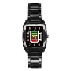 Black Energy Battery Life Stainless Steel Barrel Watch by BangZart