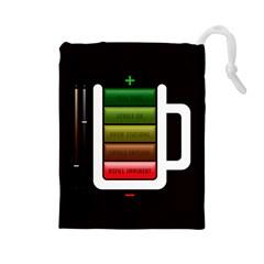 Black Energy Battery Life Drawstring Pouches (large)