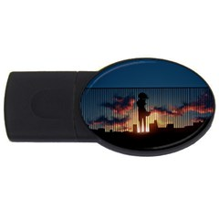 Art Sunset Anime Afternoon Usb Flash Drive Oval (4 Gb)