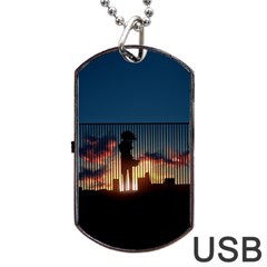 Art Sunset Anime Afternoon Dog Tag Usb Flash (one Side)