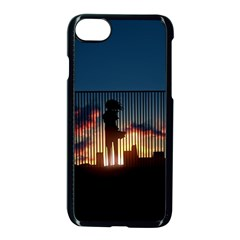 Art Sunset Anime Afternoon Apple Iphone 7 Seamless Case (black)