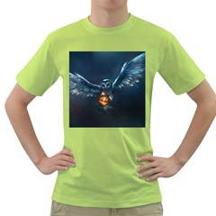 Owl And Fire Ball Green T Shirt