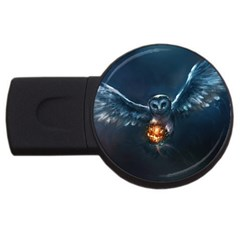 Owl And Fire Ball Usb Flash Drive Round (2 Gb) by BangZart