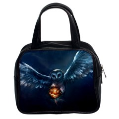 Owl And Fire Ball Classic Handbags (2 Sides) by BangZart