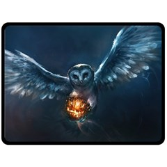 Owl And Fire Ball Fleece Blanket (large)  by BangZart