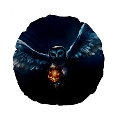 Owl And Fire Ball Standard 15  Premium Round Cushions